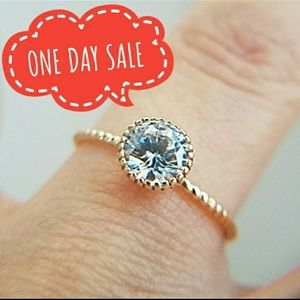 Jewelry - 14K Solid Yellow Gold Dainty Solitaire Ring 0.50ct